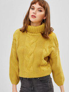 Cable Knit Pullover Turtleneck Sweater - Yellow