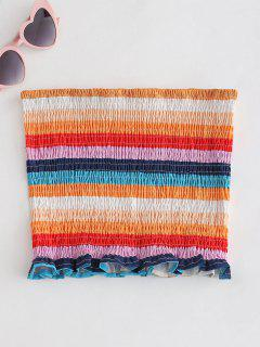 Top Bandeau De Rayas Smocked De ZAFUL - Multicolor L