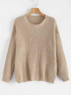 Plain Chunky Knit Sweater - Light Khaki
