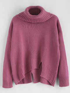 Split Hem Turtleneck Boxy Sweater - Plum