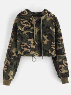 Camo Crop Fluffy Teddy Hoodie - Camouflage Green L