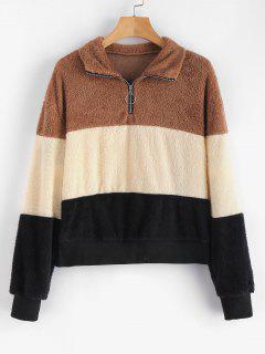 Color Block Half-zip Fluffy Sweatshirt - Multi-a L