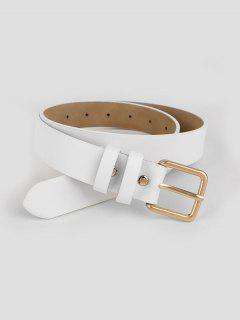 Stylish Metal Buckle Faux Leather Belt - White