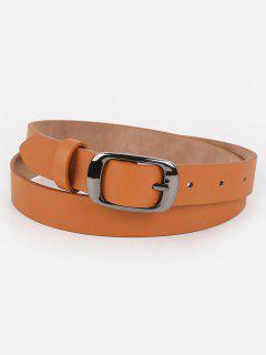 Metal Buckle Artificial Leather Belt - Tiger Orange