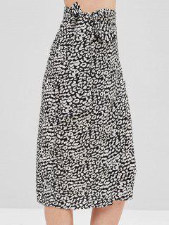 Falda Cruzada De Leopardo Con Nudos - Negro M