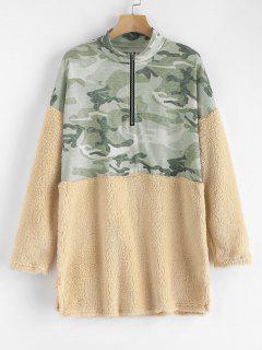 Half Zip Camouflage Faux Fur Panel Sweatshirt - Multi-a S