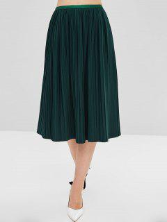 Half Lined Pleated Skirt - Green