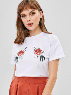 Camiseta Estampada Floral - Blanco S
