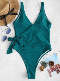 ZAFUL Side Tie Wrap Traje De Baño De Una Pieza - Azul Verdoso M