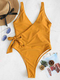 ZAFUL Side Tie Wrap Traje De Baño De Una Pieza - Amarillo Brillante S