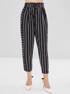 Drawstring Stripe Pants - Black S