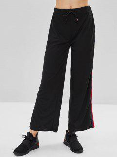 Stripe Patch Side Slit Drawstring Pants - Black L