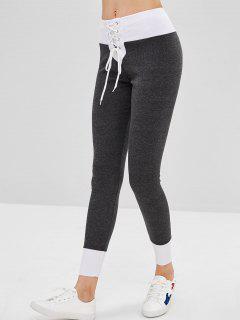 Lace-up Ponte Pants - Dark Gray L
