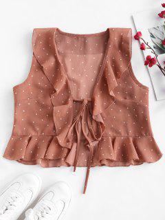 Ruffles Polka Dot Tie Crop Top - Orange Pink S