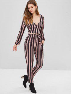 ZAFUL Striped Wrap Crop Top Pants Two Piece Set - Multi L