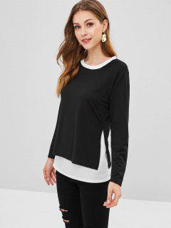 T-shirt Bicolore à Fente Latérale - Noir S