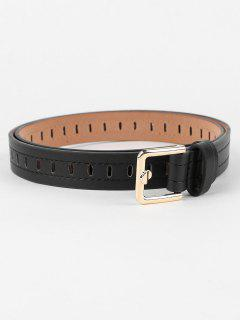 Line Embroidery Hollow Out Waist Belt - Black