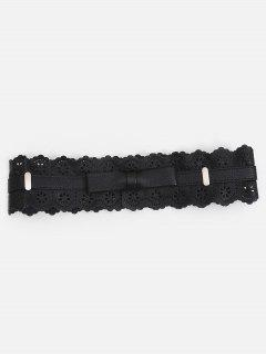 Vintage Hollow Out Floral High Waist Belt - Black