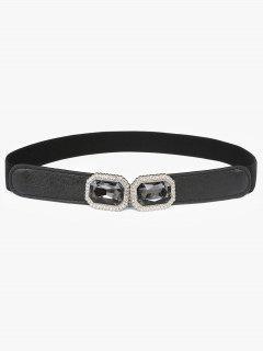 Rhinestone Inlaid Faux Gem Stretchy Dress Belt - Black