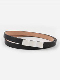 Casual Faux Leather Skinny Dress Belt - Black