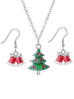 2Pcs Christmas Tree And Bells Design Jewelry Set - Silver