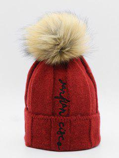 Winter Letter Embroidery Fuzzy Ball Ski Cap - Cherry Red