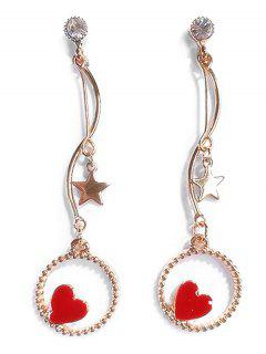 Rhinestoned Star And Heart Decoration Hollow Earrings - Red