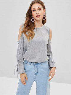 Tied Sleeves Cold Shoulder Tee - Gray L
