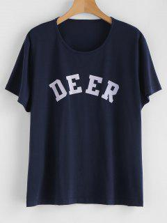 Deer Graphic Tee - Marinblau S