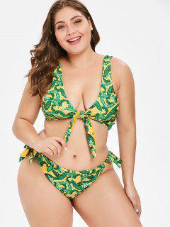ZAFUL Plus Size Palm Reversibel Bikini Set - Multi-a 3x