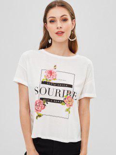 Camiseta Estampada Con Cordones Y Gráfico - Blanco L