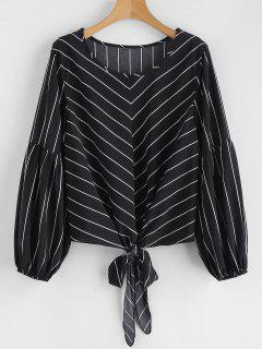 Self-tie Striped Blouse - Black L
