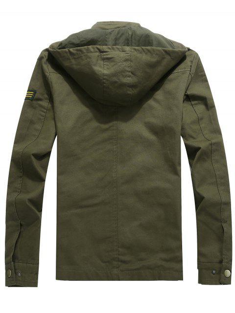 Veste à Capuche Décontractée avec Applique Cordon de Serrage et Fermeture Éclair - Vert Armée  2XL Mobile