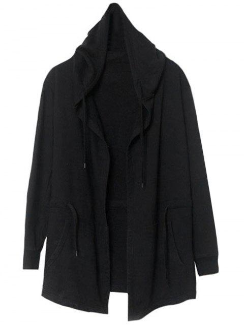 new Front Open Hooded Thin Coat - BLACK M Mobile
