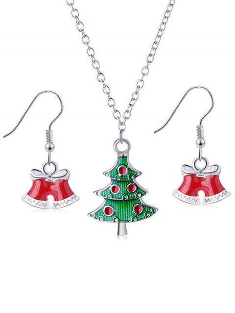 hot 2Pcs Christmas Tree and Bells Design Jewelry Set - SILVER  Mobile