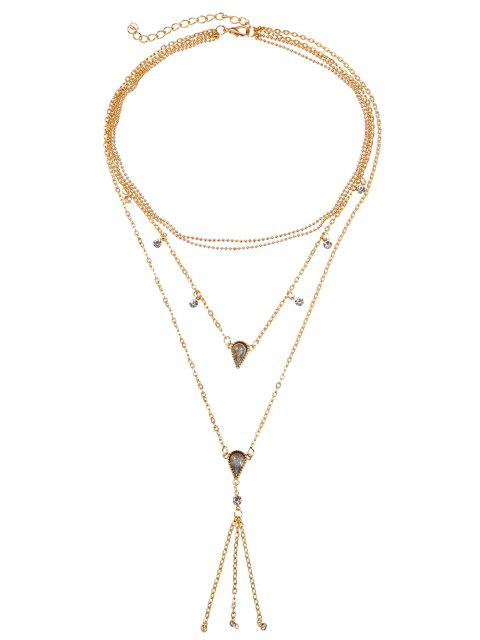 lady Multilayered Tassel Geometric Rhinestone Necklace - GOLD  Mobile