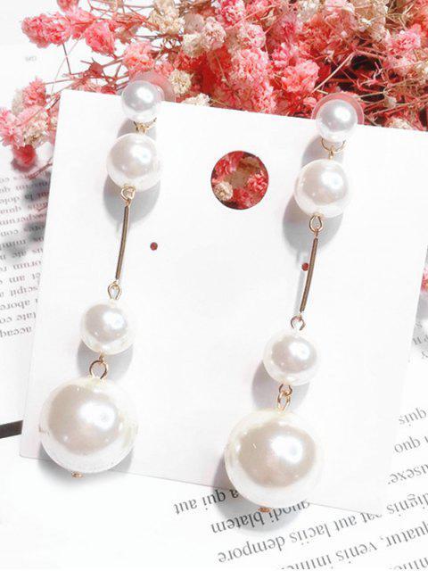 Pendientes de abalorios con diseño de bolas de perlas artificiales - Blanco  Mobile