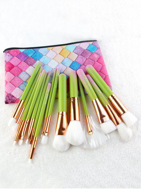 latest Professional 15 Pcs Green Handle Soft Hair Cosmetic Brush Set with Bag - YELLOW GREEN  Mobile