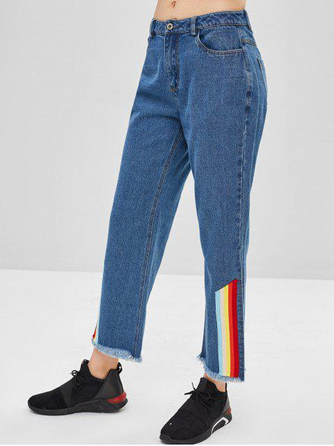 ZAFUL Rainbow Striped Slit Jeans de pierna ancha - Azul Oscuro de Denim L Mobile