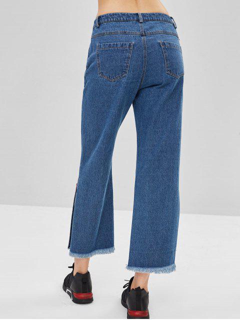 ZAFUL Rainbow Striped Slit Jeans de pierna ancha - Azul Oscuro de Denim S Mobile