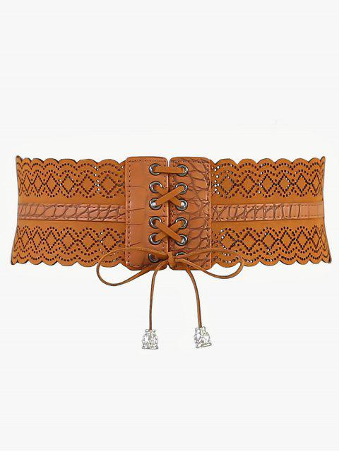 buy Rhombus Faux Leather Stretchy Wide Waist Belt - CAMEL BROWN  Mobile