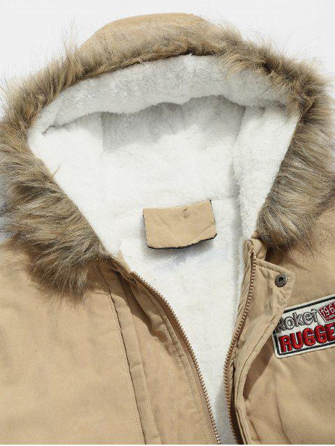 chic Faux Fur Hood Fluffy Lined Jacket - KHAKI S Mobile