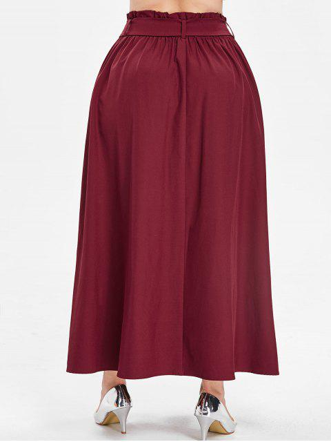 sale ZAFUL Long Plus Size Skirt with Belt - RED WINE 4X Mobile