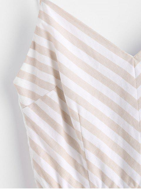 best Front Pockets Striped Romper - MULTI-A L Mobile