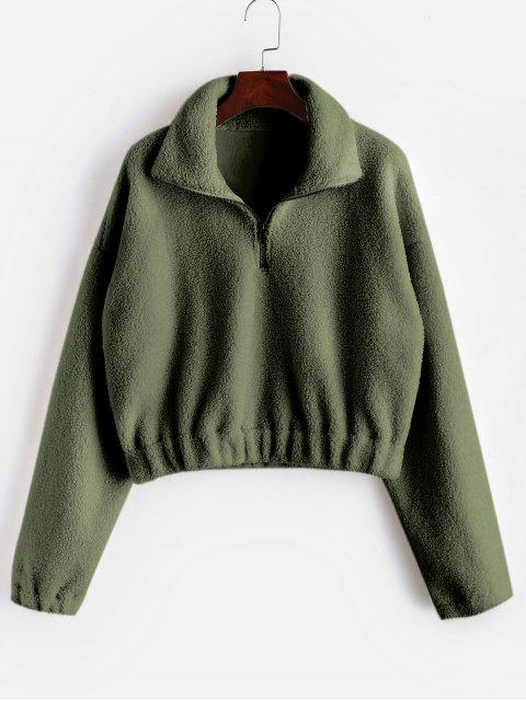 Einfacher Kunstpelz-Sweatshirt mit halbem Reißverschluss - Armeegrün L Mobile