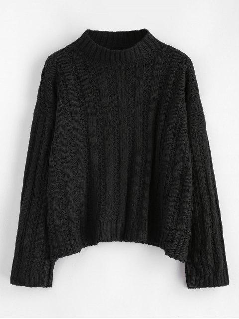 Pull large côtelé à épaules dénudées et épaules dénudées - Noir Taille Unique Mobile
