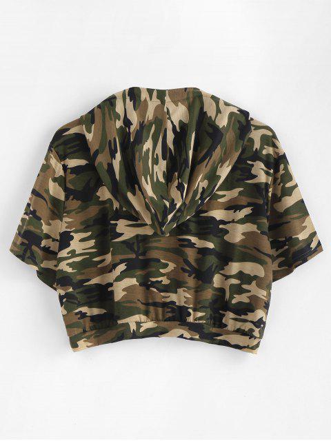 Casaco Encapuzado Plus Size com Camuflagem Cortado - Camuflagem da Madeira  1X Mobile