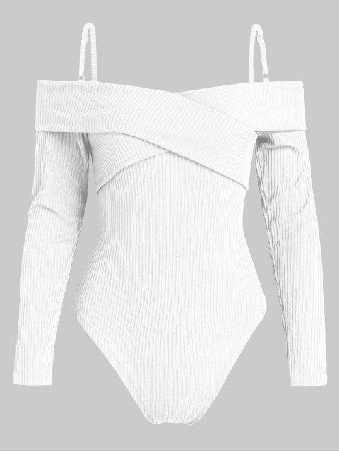 ZAFUL Body en tricot à manches longues et coupe haute - Blanc XL Mobile