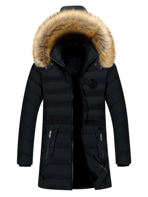 Manteau Doudoune Matelassé avec Poche Jointive en Couleur Unie en Fausse Fourrure - Noir M Mobile