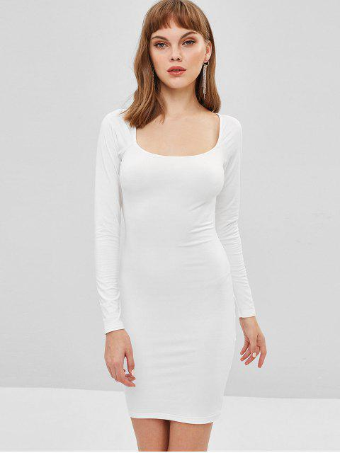 online Low Cut Long Sleeve Bodycon Dress - MILK WHITE S Mobile